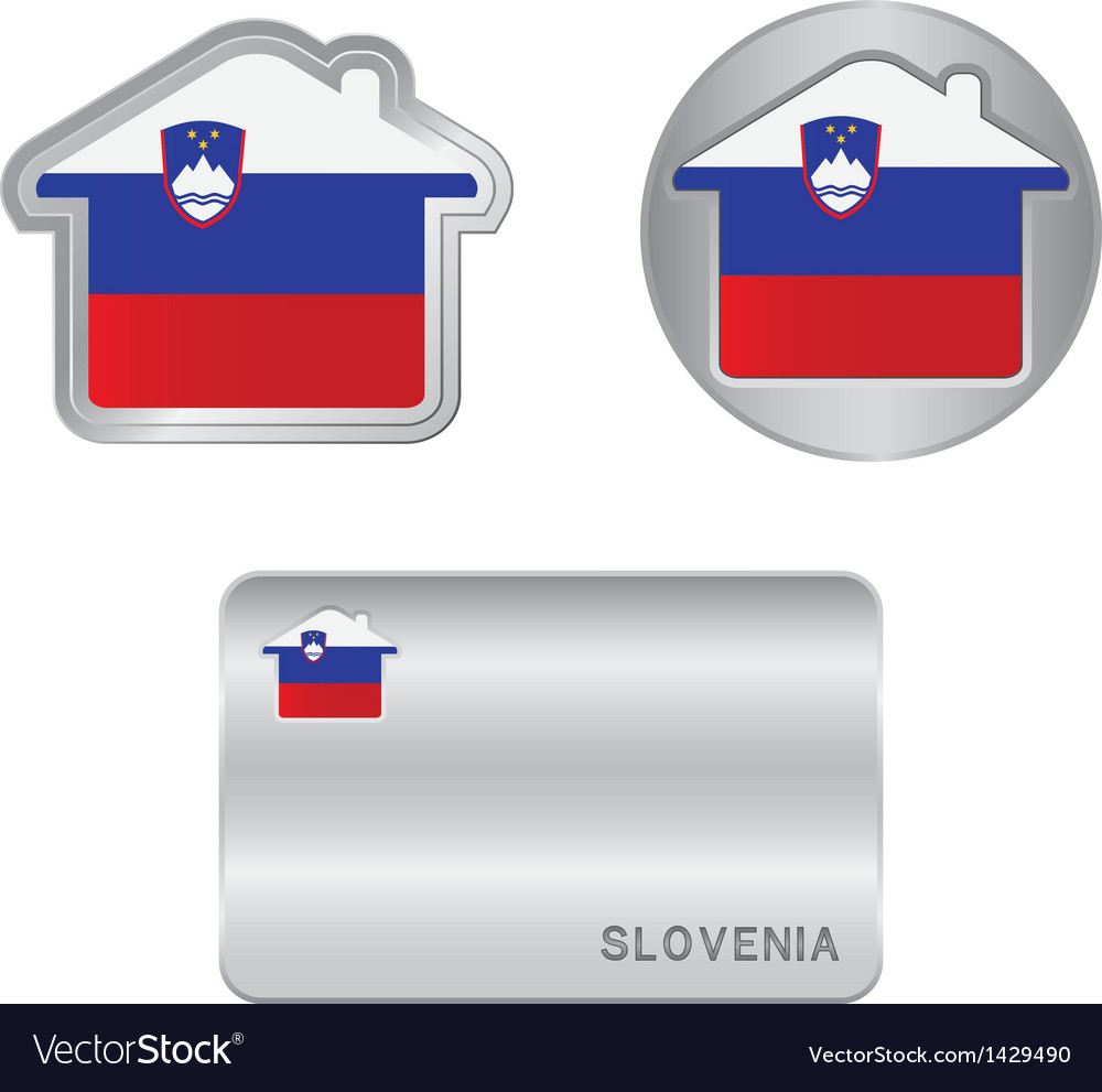 Home icon on the slovenia flag vector | Price: 1 Credit (USD $1)