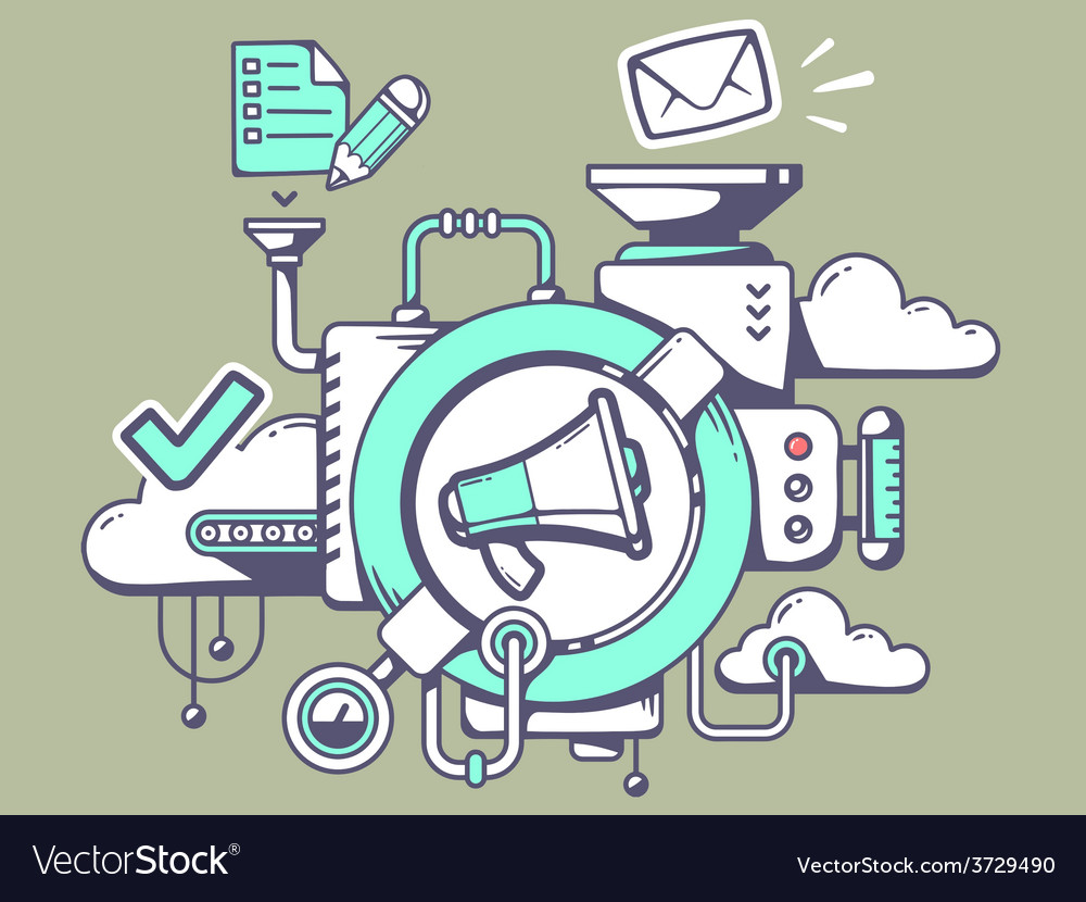 Mechanism with megaphone and office icons vector | Price: 1 Credit (USD $1)