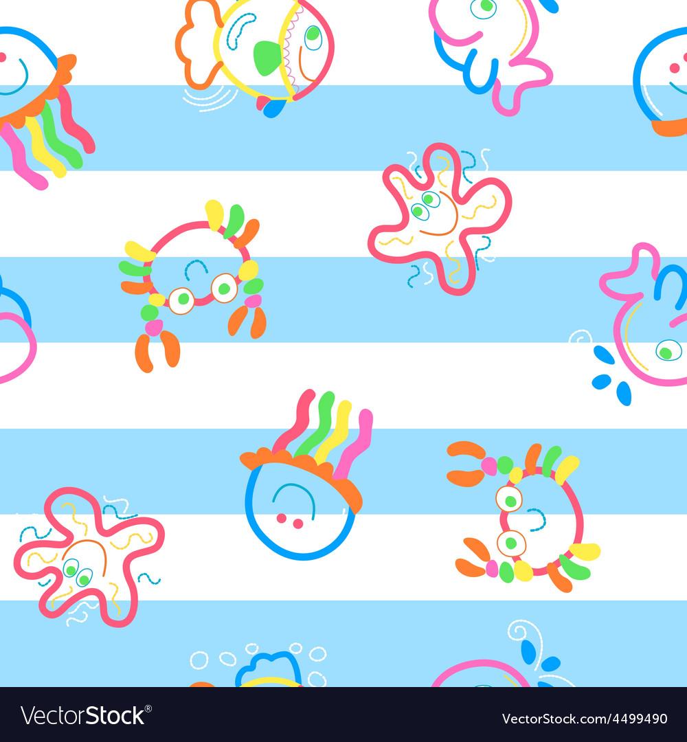 Neon sea life on stripes vector | Price: 1 Credit (USD $1)