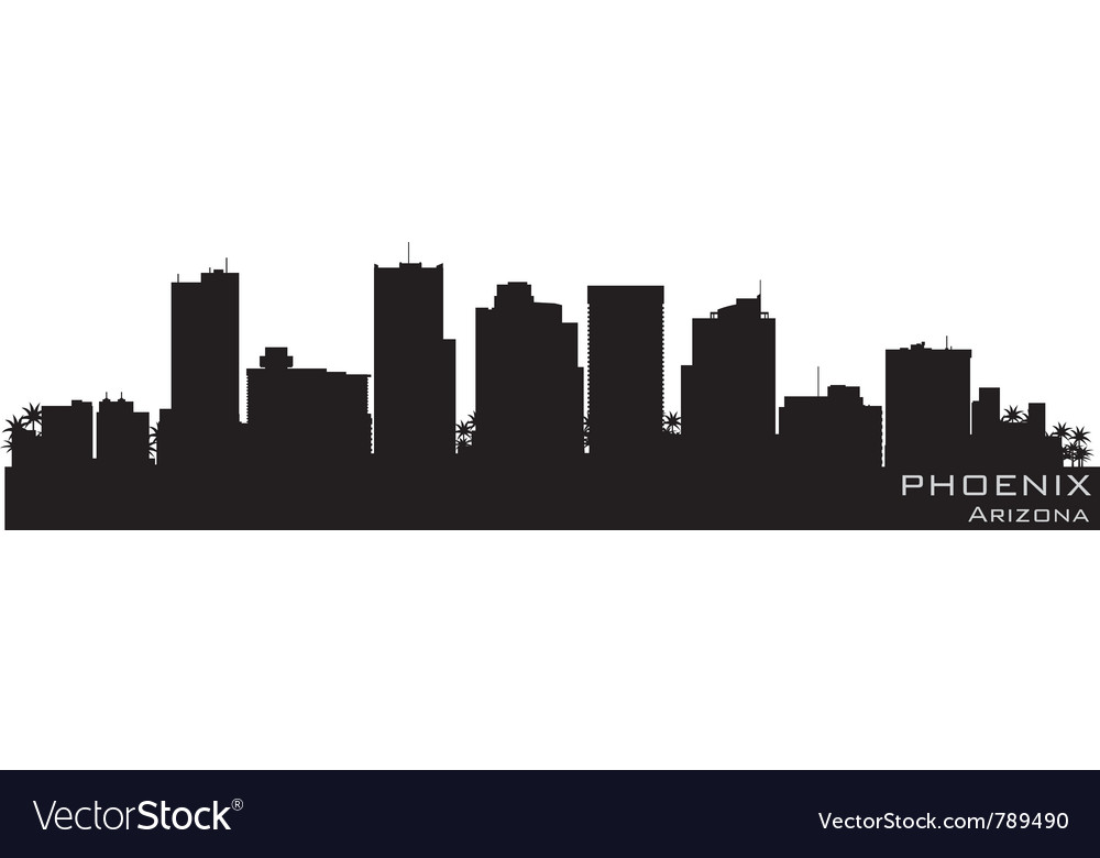 Phoenix arizona skyline detailed silhouette vector | Price: 1 Credit (USD $1)