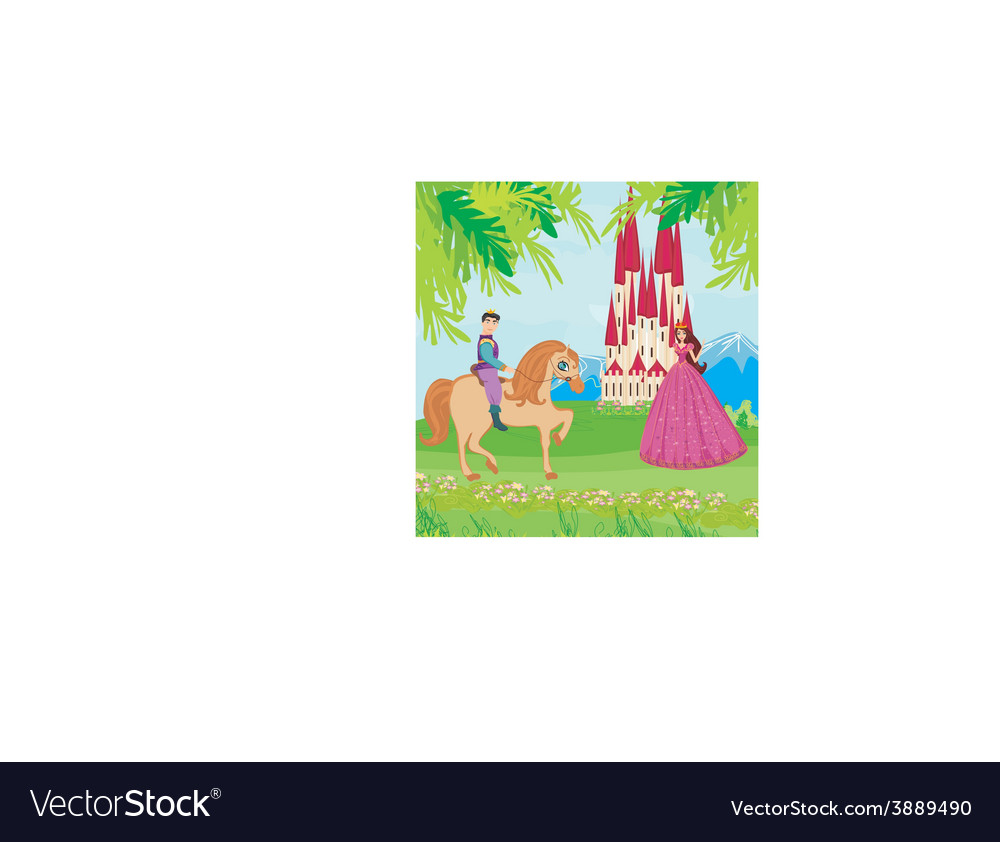 Prince riding a horse to the princess vector | Price: 1 Credit (USD $1)