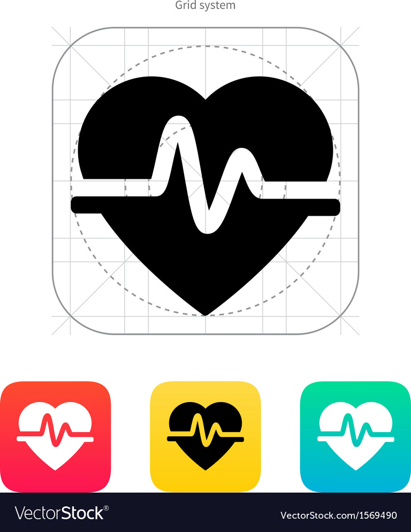Pulse heart icon vector | Price: 1 Credit (USD $1)