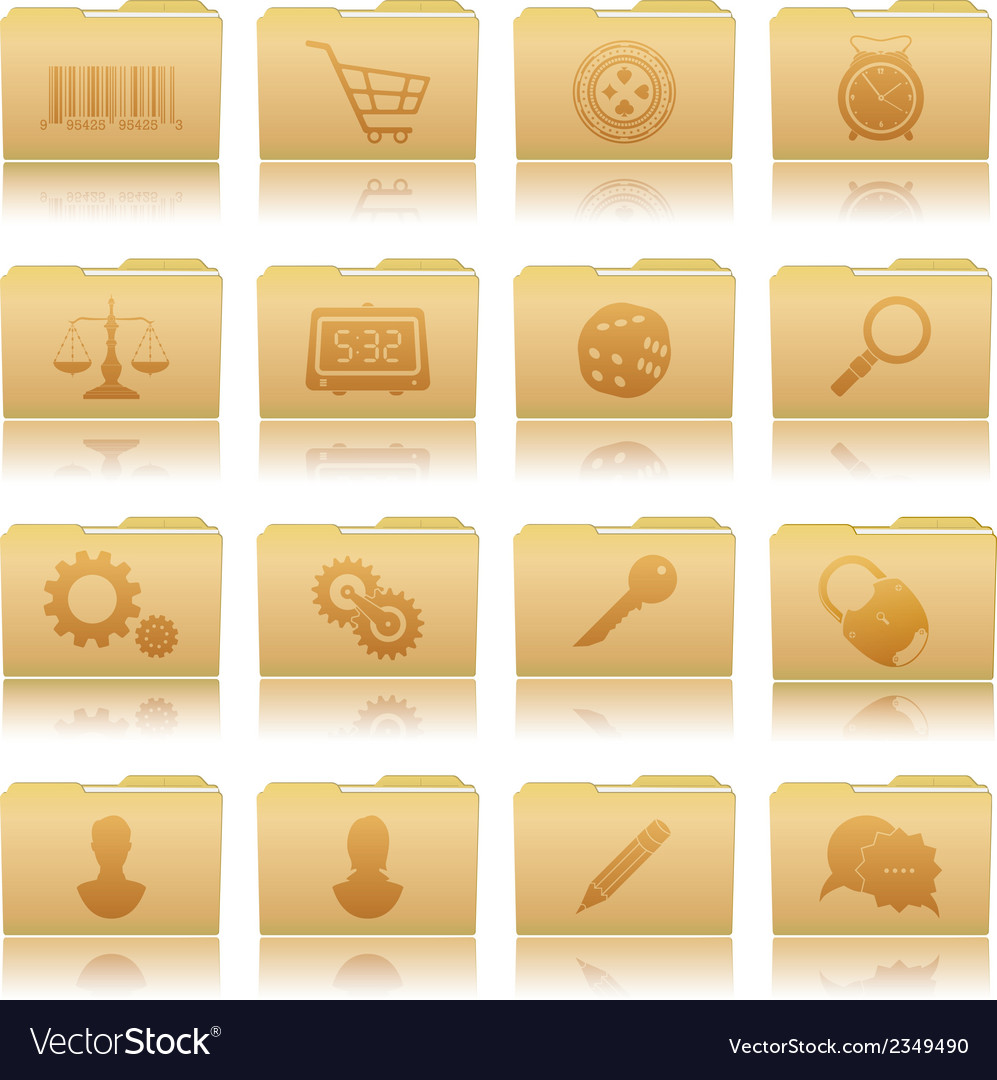 Set of folders with symbols vector | Price: 1 Credit (USD $1)