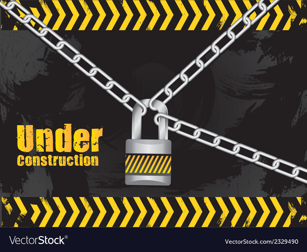 Under construction chained with a padlock on grung vector | Price: 1 Credit (USD $1)