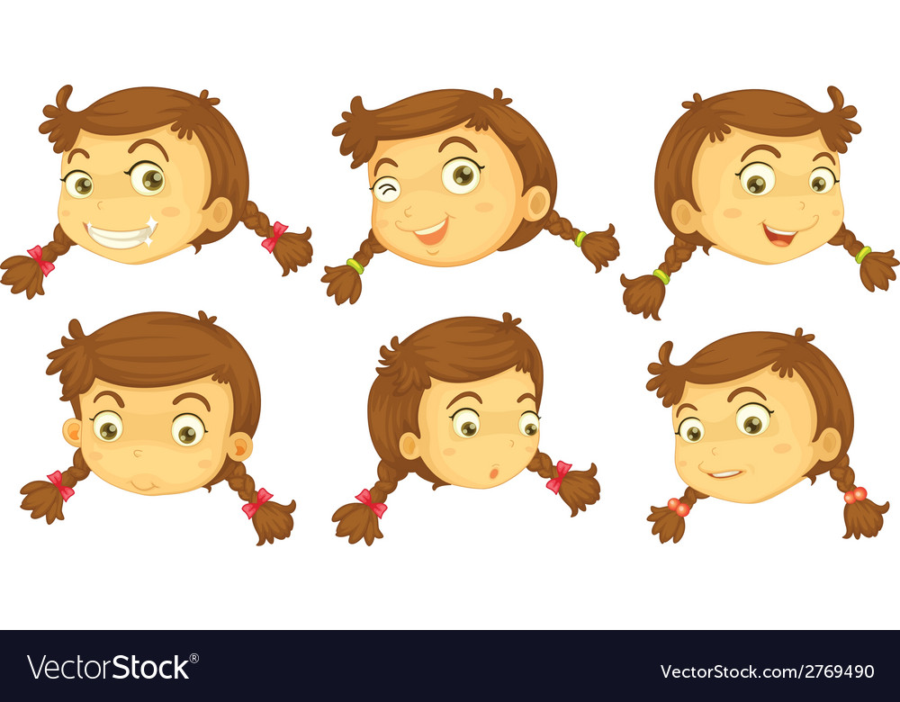 Variations of a girls faces vector | Price: 1 Credit (USD $1)