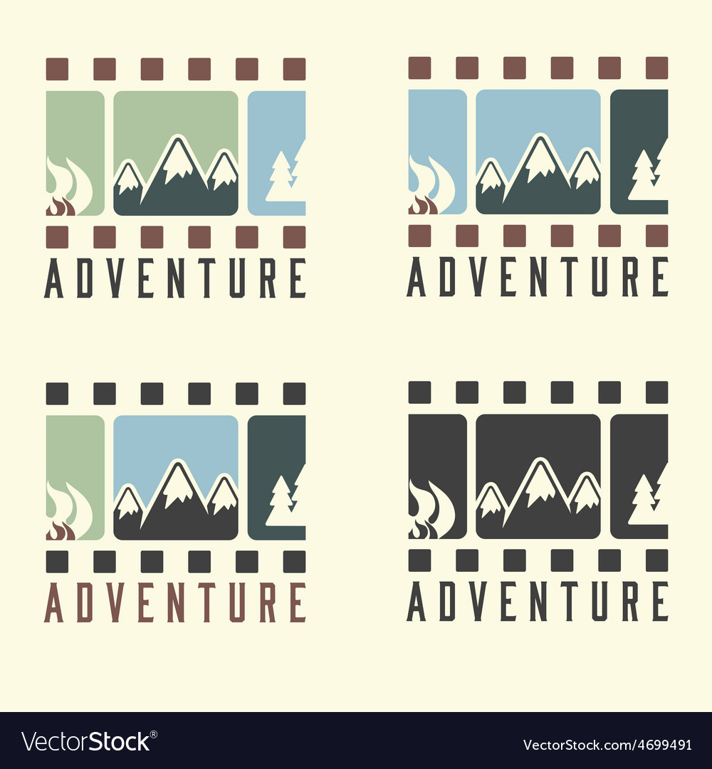 Adventure film tape vintage set vector | Price: 1 Credit (USD $1)