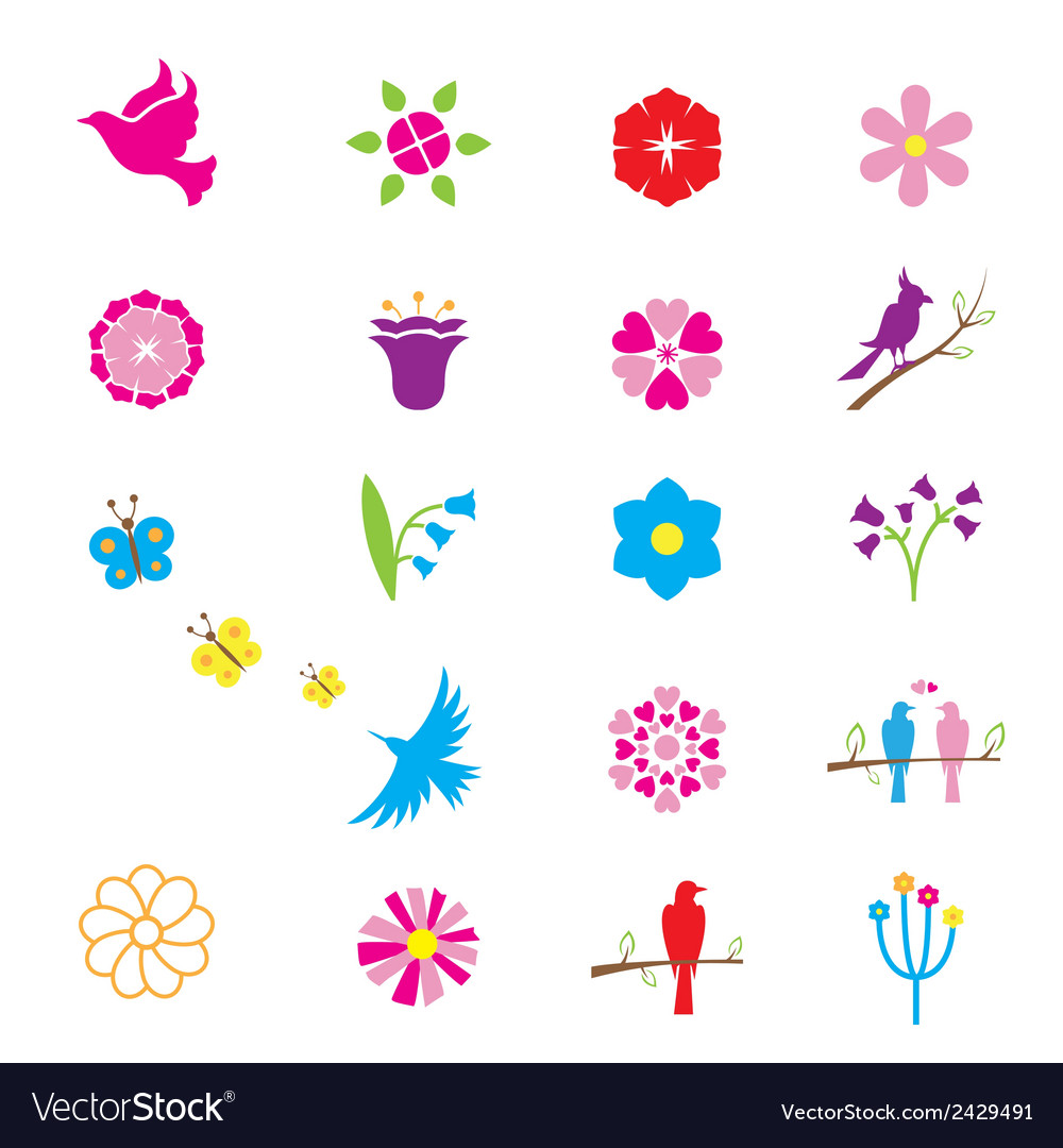 Flowers and birds icons vector | Price: 1 Credit (USD $1)