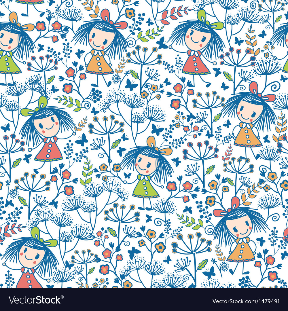 Girls in the flower garden seamless pattern vector | Price: 1 Credit (USD $1)