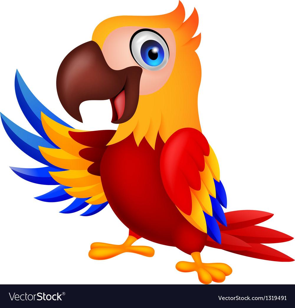 Macaw bird carton waving vector | Price: 1 Credit (USD $1)