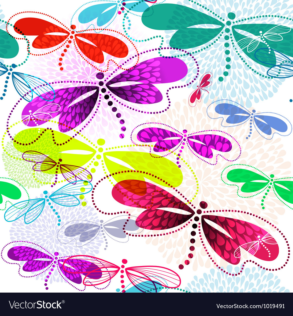 Pattern with vivid translucent dragonflies vector | Price: 1 Credit (USD $1)
