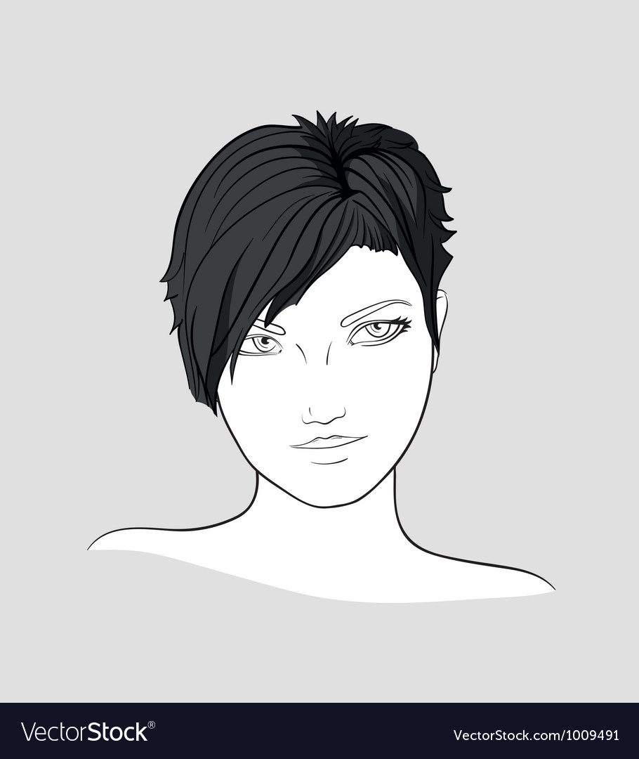 Portrait of brunette girlwith short hair vector | Price: 1 Credit (USD $1)