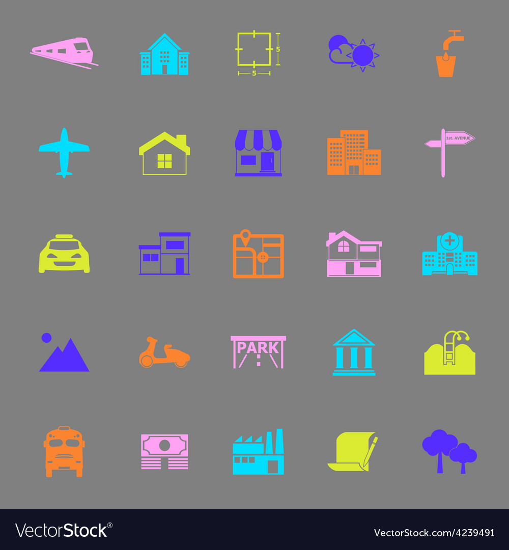 Real estate color icons on gray background vector | Price: 1 Credit (USD $1)