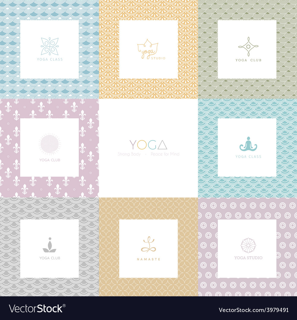 Set of logos and patterns for a yoga studio vector | Price: 1 Credit (USD $1)