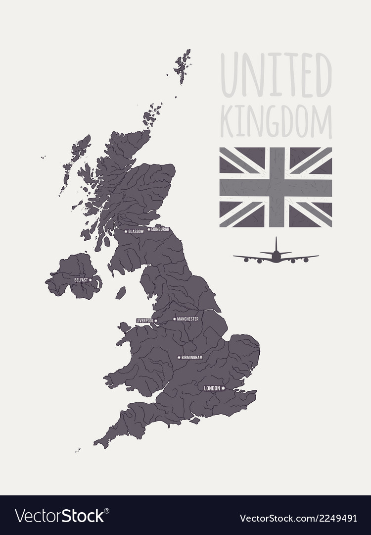 Set with map text flag plane uk vector | Price: 1 Credit (USD $1)