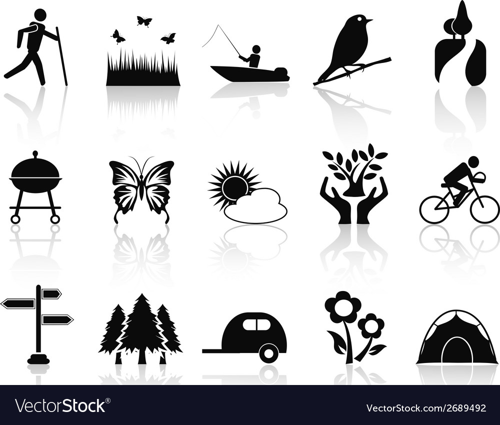 Black park and garden icons set vector