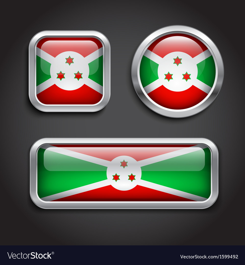 Burundi flag glass buttons vector | Price: 1 Credit (USD $1)