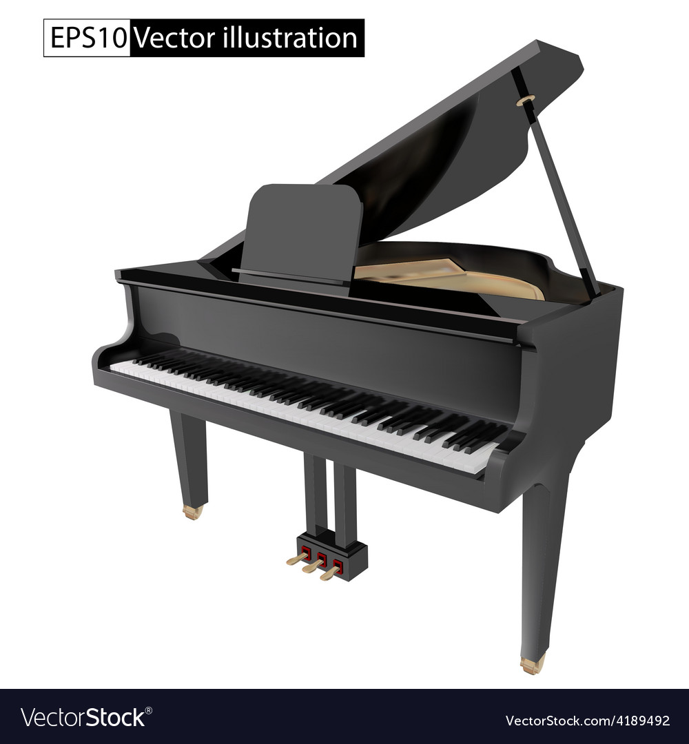 Gand piano isolated on a white background vector | Price: 1 Credit (USD $1)