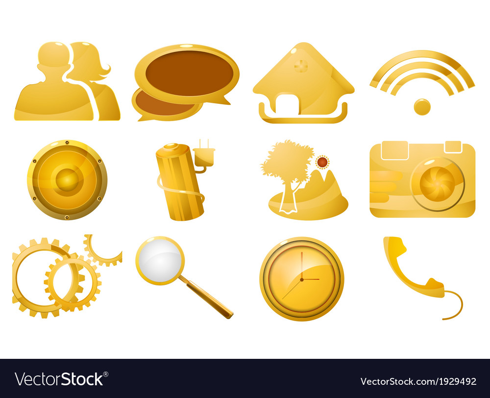 Glossy golden icon set vector | Price: 1 Credit (USD $1)