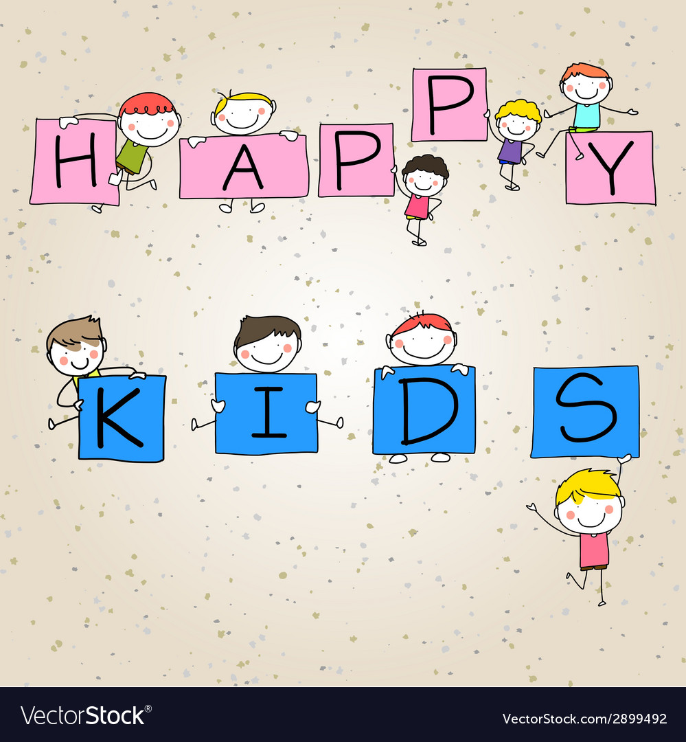 Hand drawing cartoon character happy kids vector | Price: 1 Credit (USD $1)