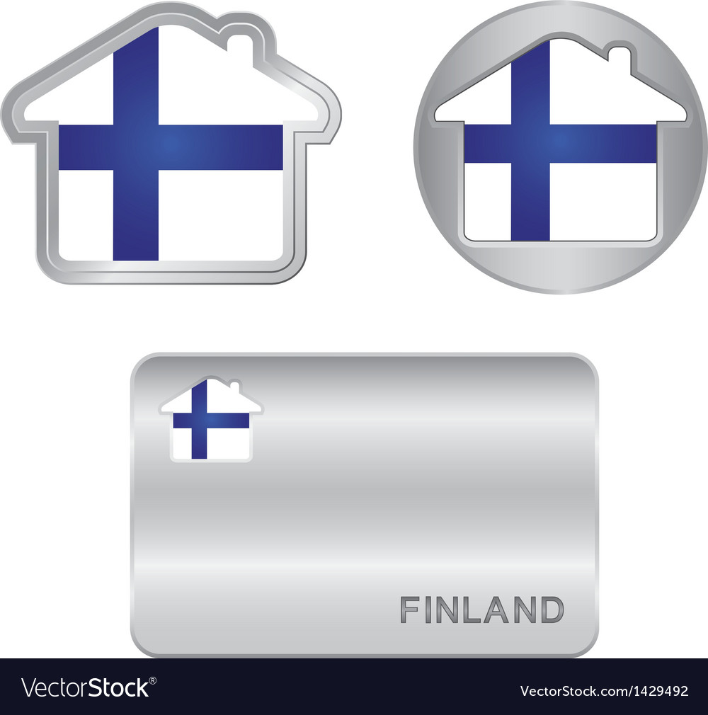 Home icon on the finland flag vector | Price: 1 Credit (USD $1)