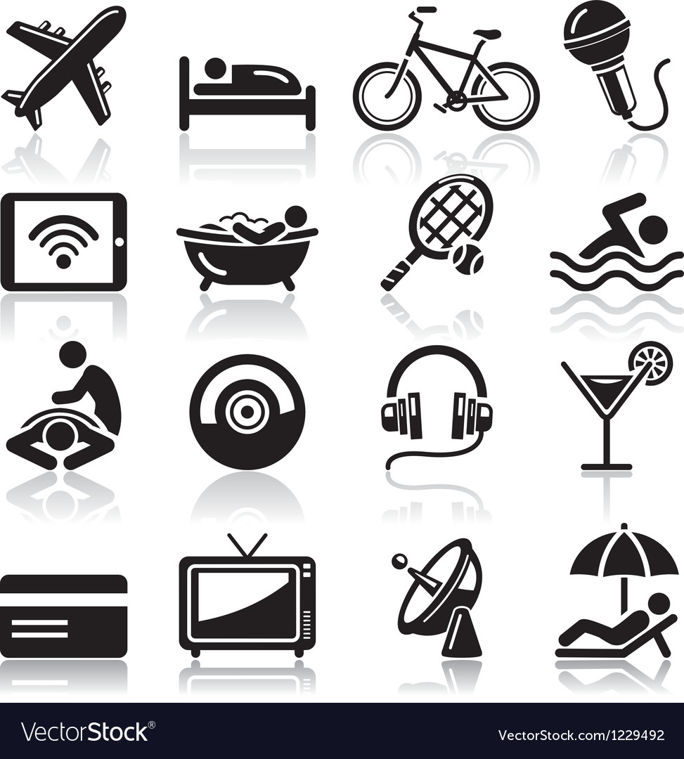 Hotel black icons set vector | Price: 1 Credit (USD $1)