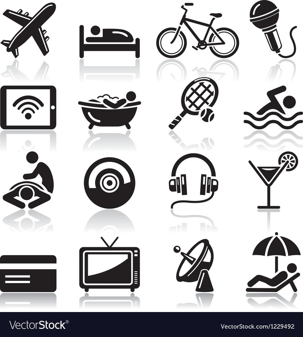 Hotel black icons set vector