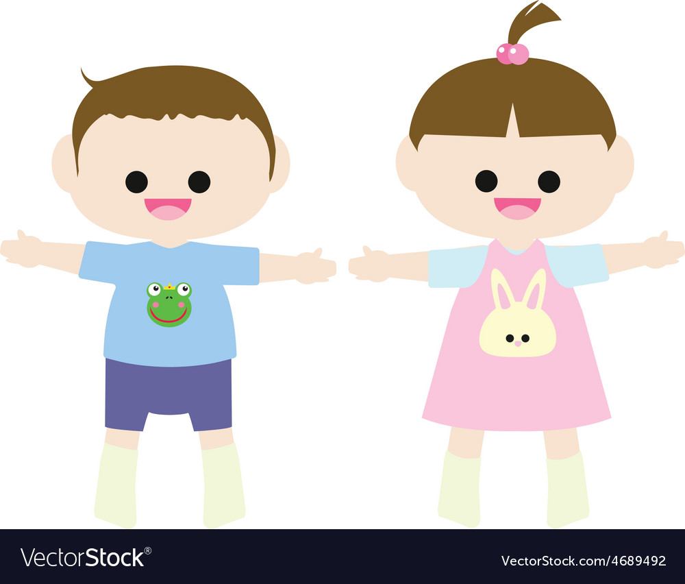 Little boy and little girl vector   Price: 1 Credit (USD $1)