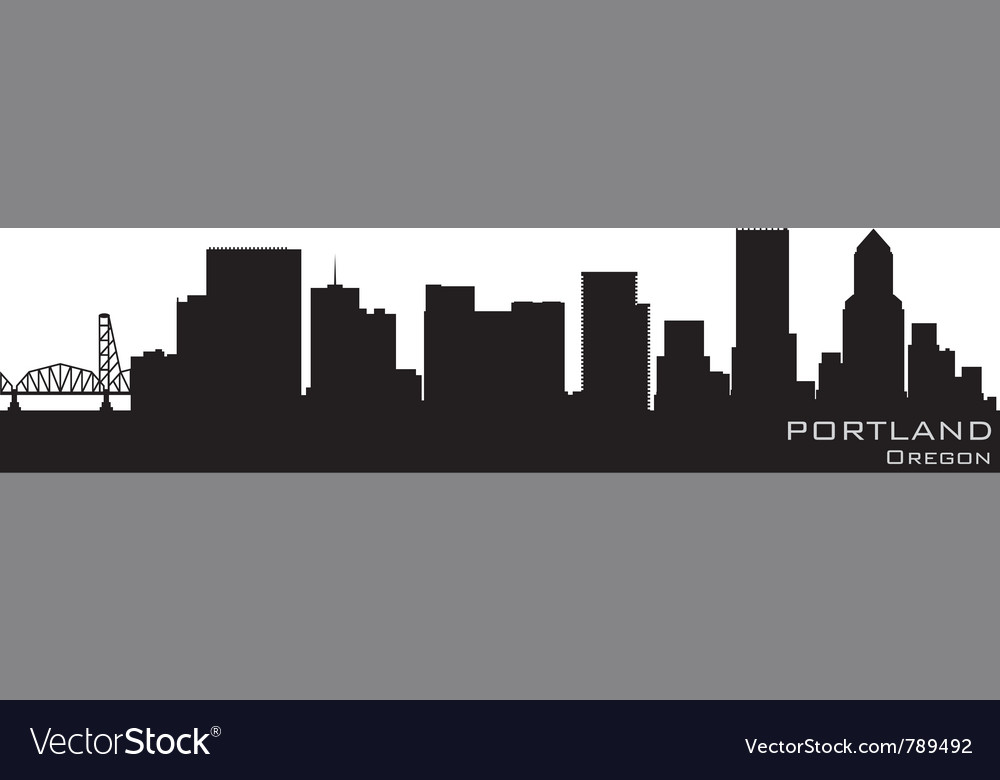 Portland oregon skyline detailed silhouette vector | Price: 1 Credit (USD $1)