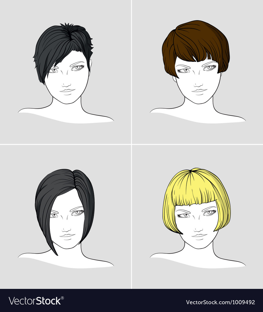 Portraits of women with different haircuts vector | Price: 3 Credit (USD $3)