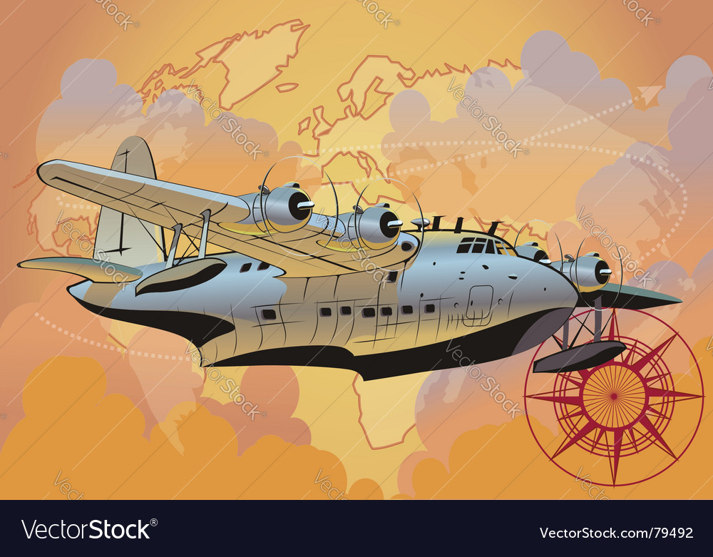 Retro seaplane vector | Price: 5 Credit (USD $5)