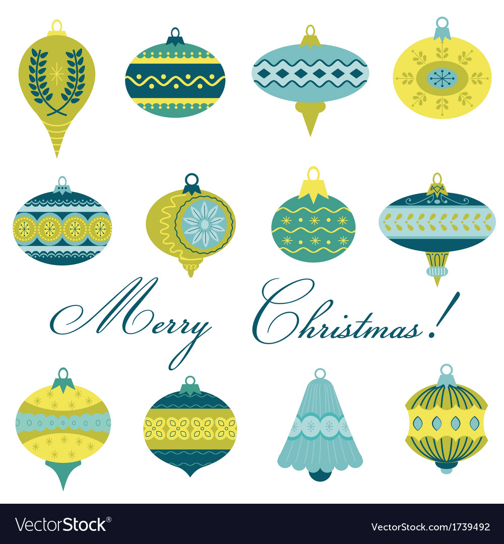 Set of vintage christmas tree balls vector | Price: 1 Credit (USD $1)