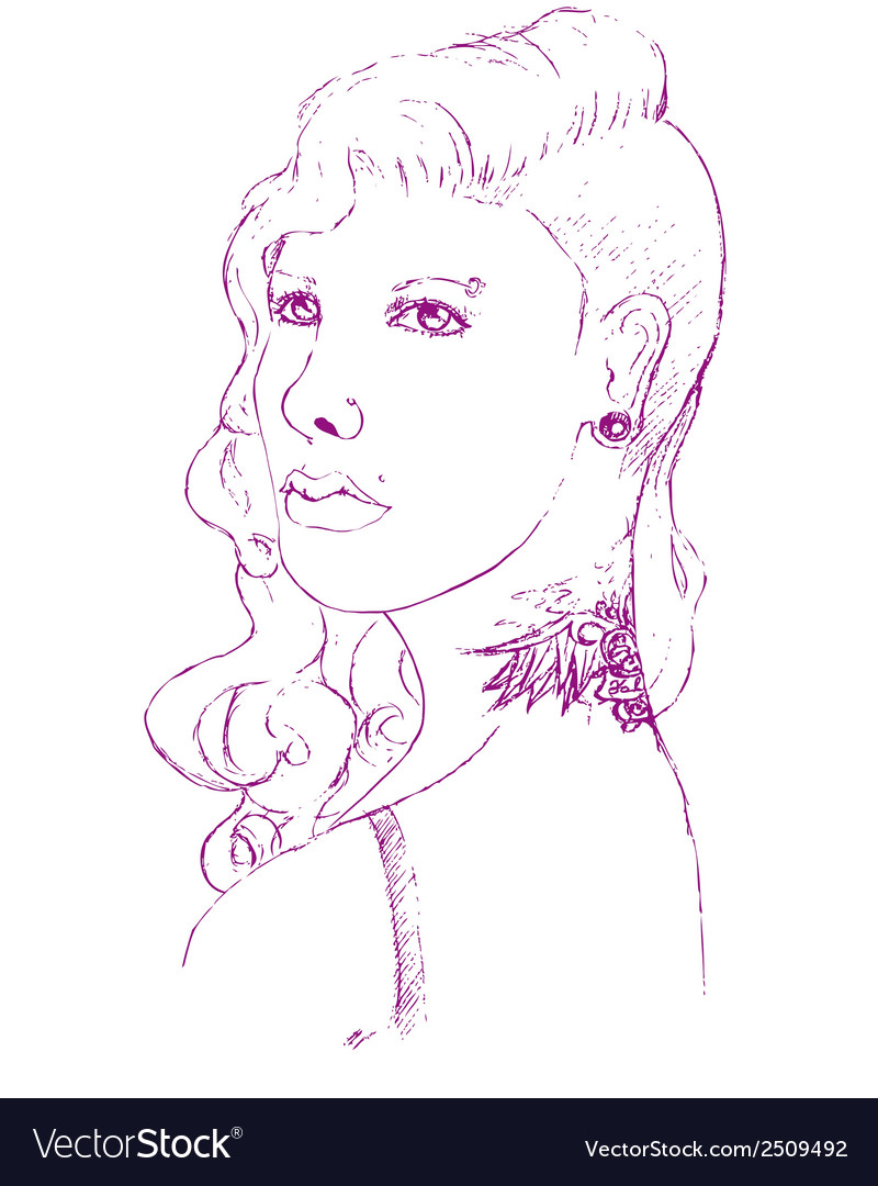 Young woman with piercing and tattoo vector | Price: 1 Credit (USD $1)