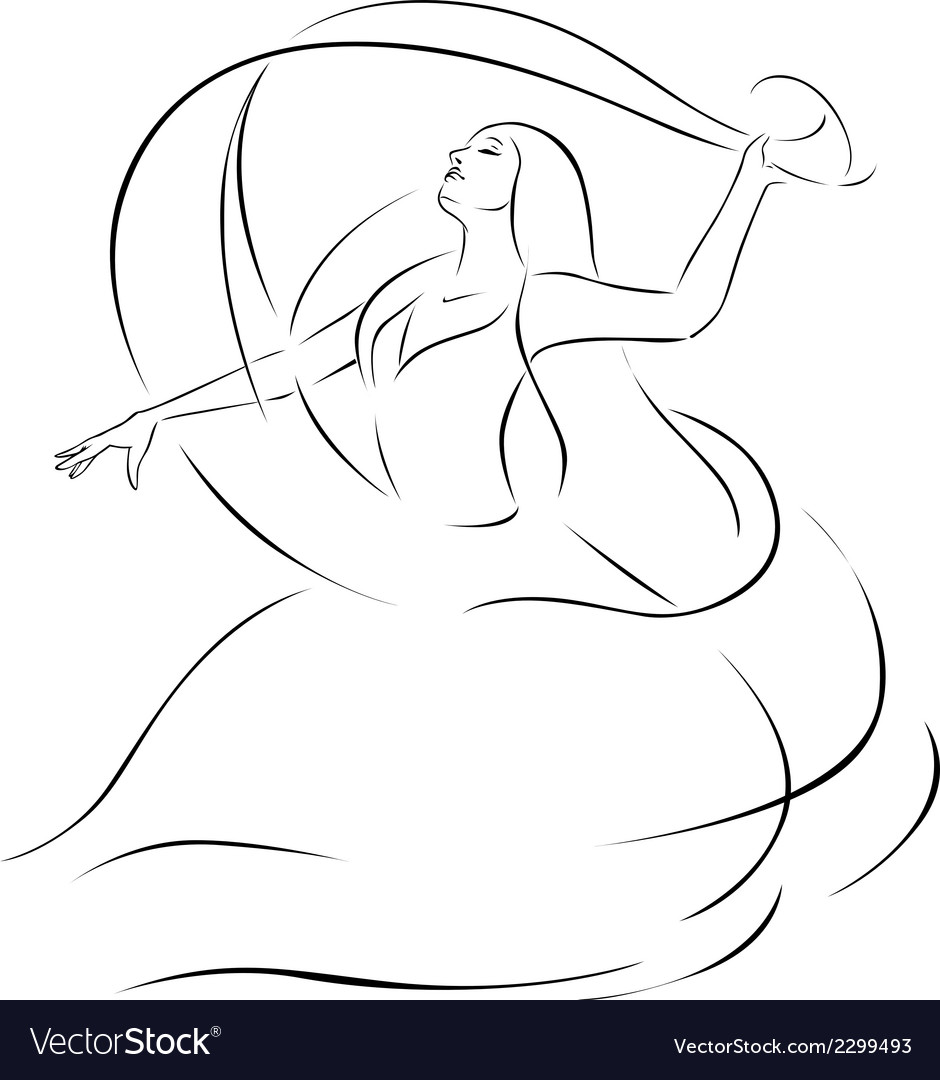 Belly dancer - black outline vector | Price: 1 Credit (USD $1)