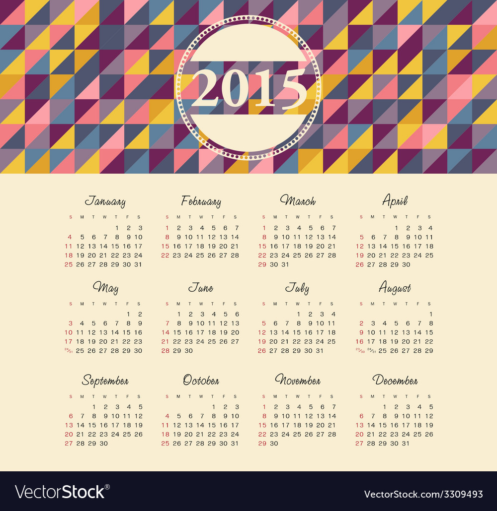 Calendar 2015 year with colored patterns vector | Price: 1 Credit (USD $1)