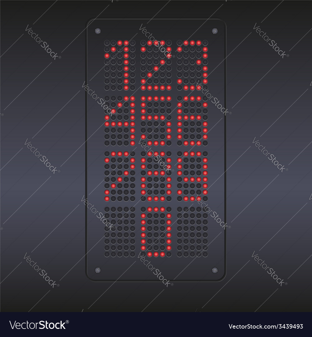 Colorful red led panel with numbers vector | Price: 1 Credit (USD $1)