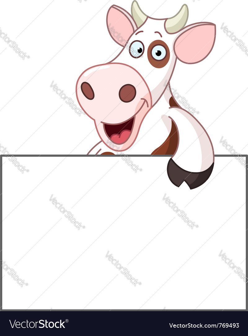 Cow with sign vector | Price: 1 Credit (USD $1)