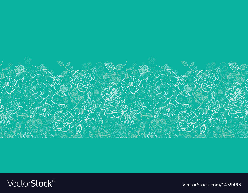 Emerald green floral lineart horizontal seamless vector | Price: 1 Credit (USD $1)