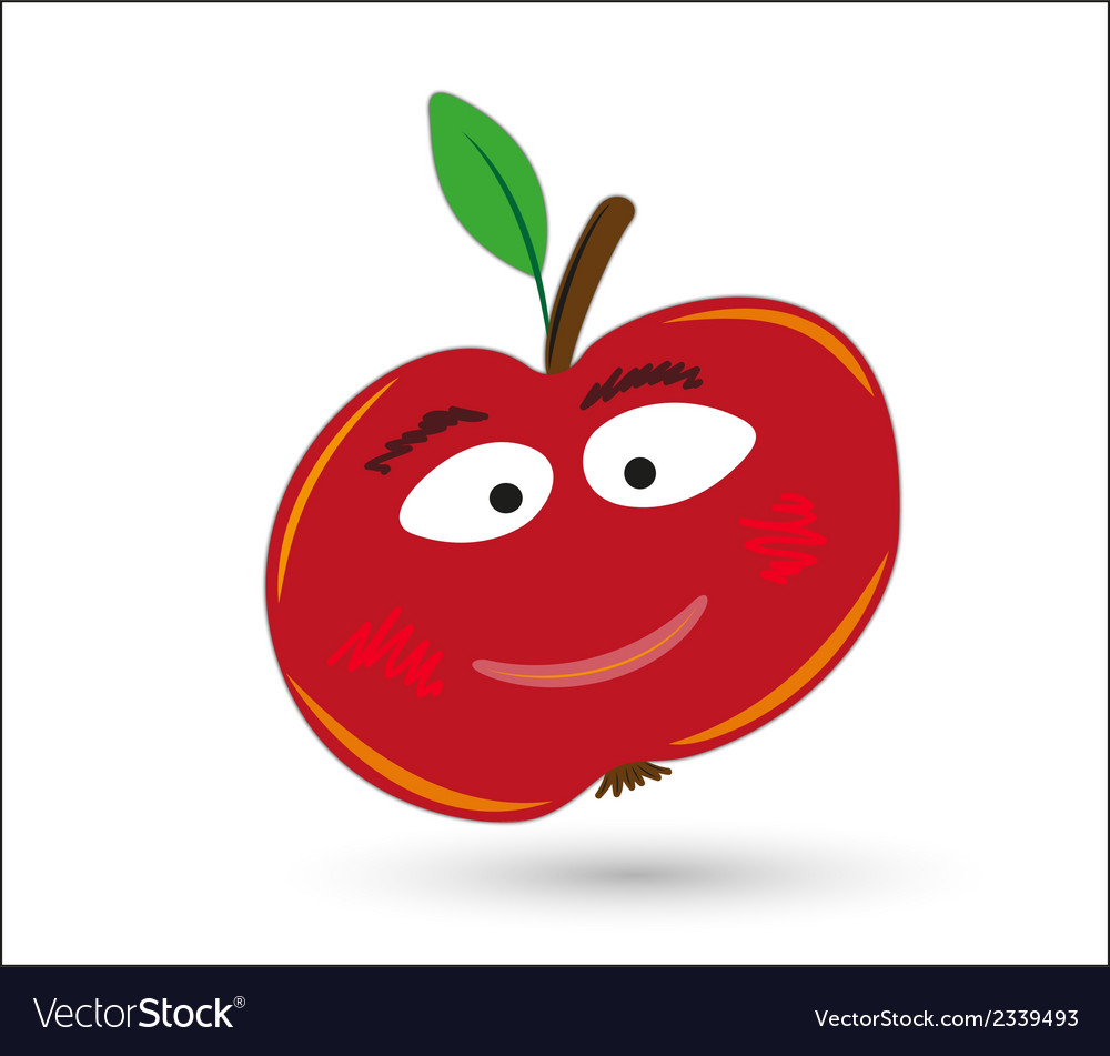 Red funny and smiling apple with eyes and mouth vector | Price: 1 Credit (USD $1)