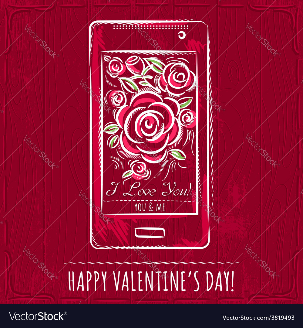 Red valentine card with smartphone and roses vector | Price: 1 Credit (USD $1)
