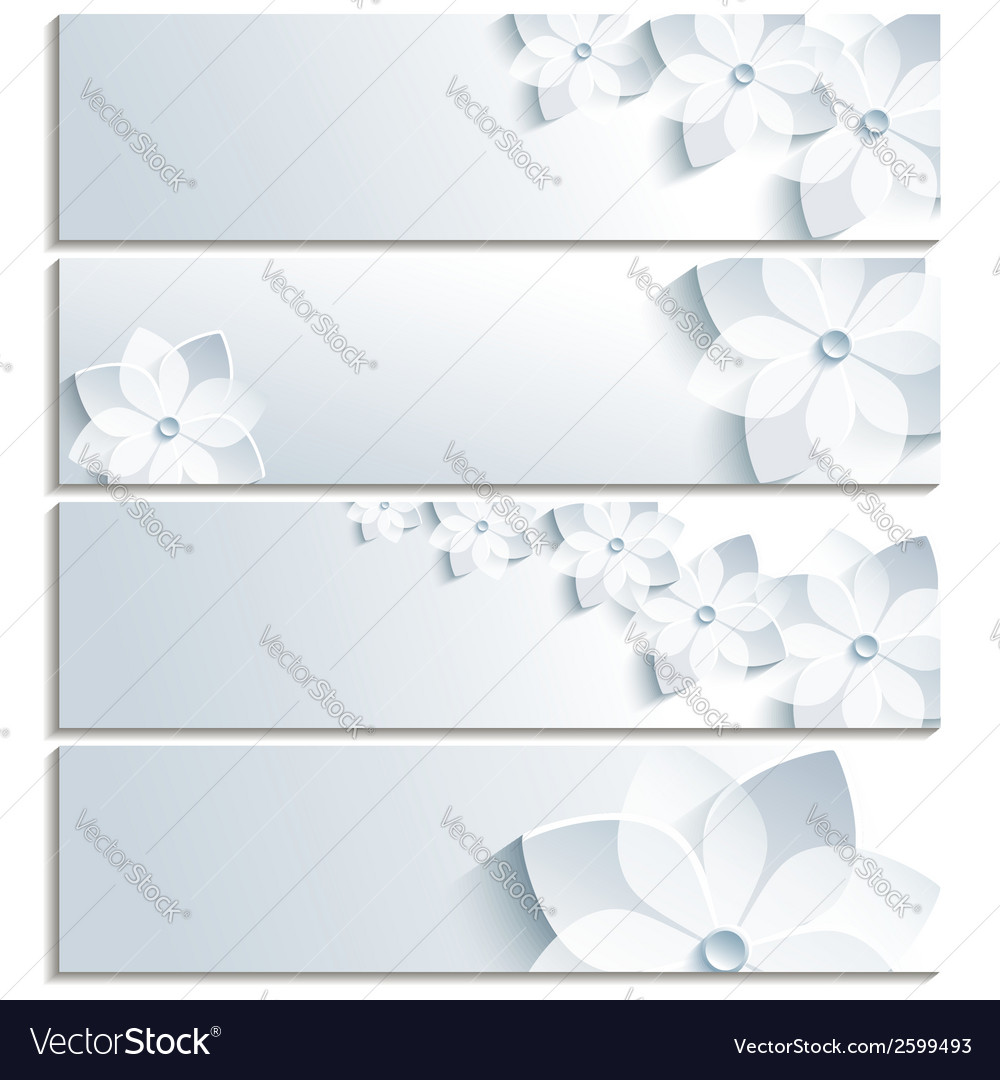 Set of horizontal banners grey with sakura vector | Price: 1 Credit (USD $1)