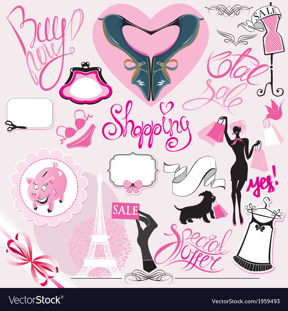 Set of silhouettes of glamor clothes and accessori vector   Price: 1 Credit (USD $1)