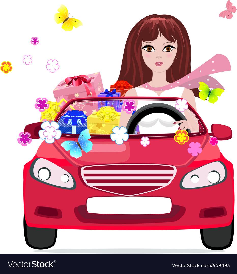 Woman car vector | Price: 3 Credit (USD $3)