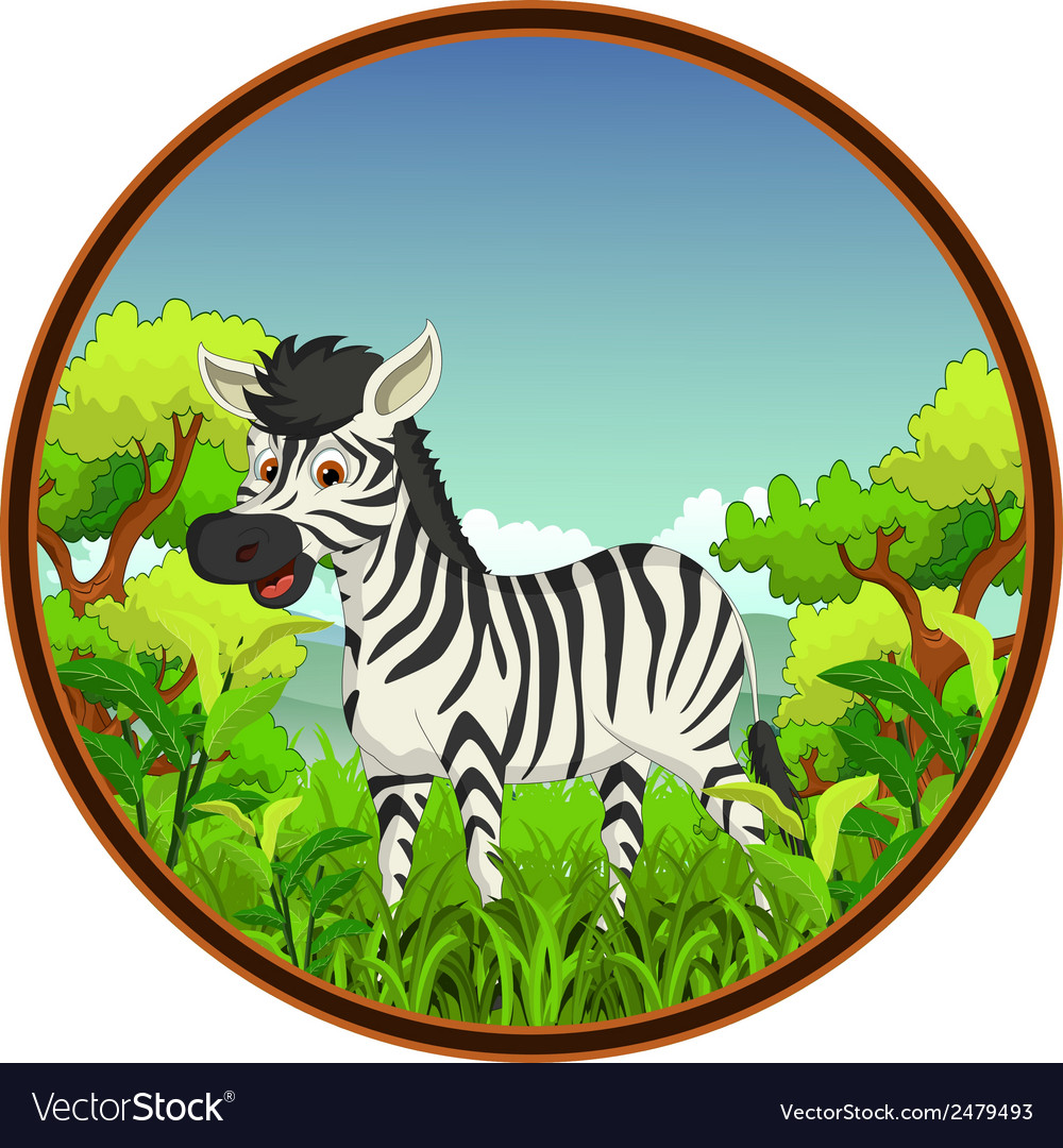 Zebra with forest background vector | Price: 1 Credit (USD $1)