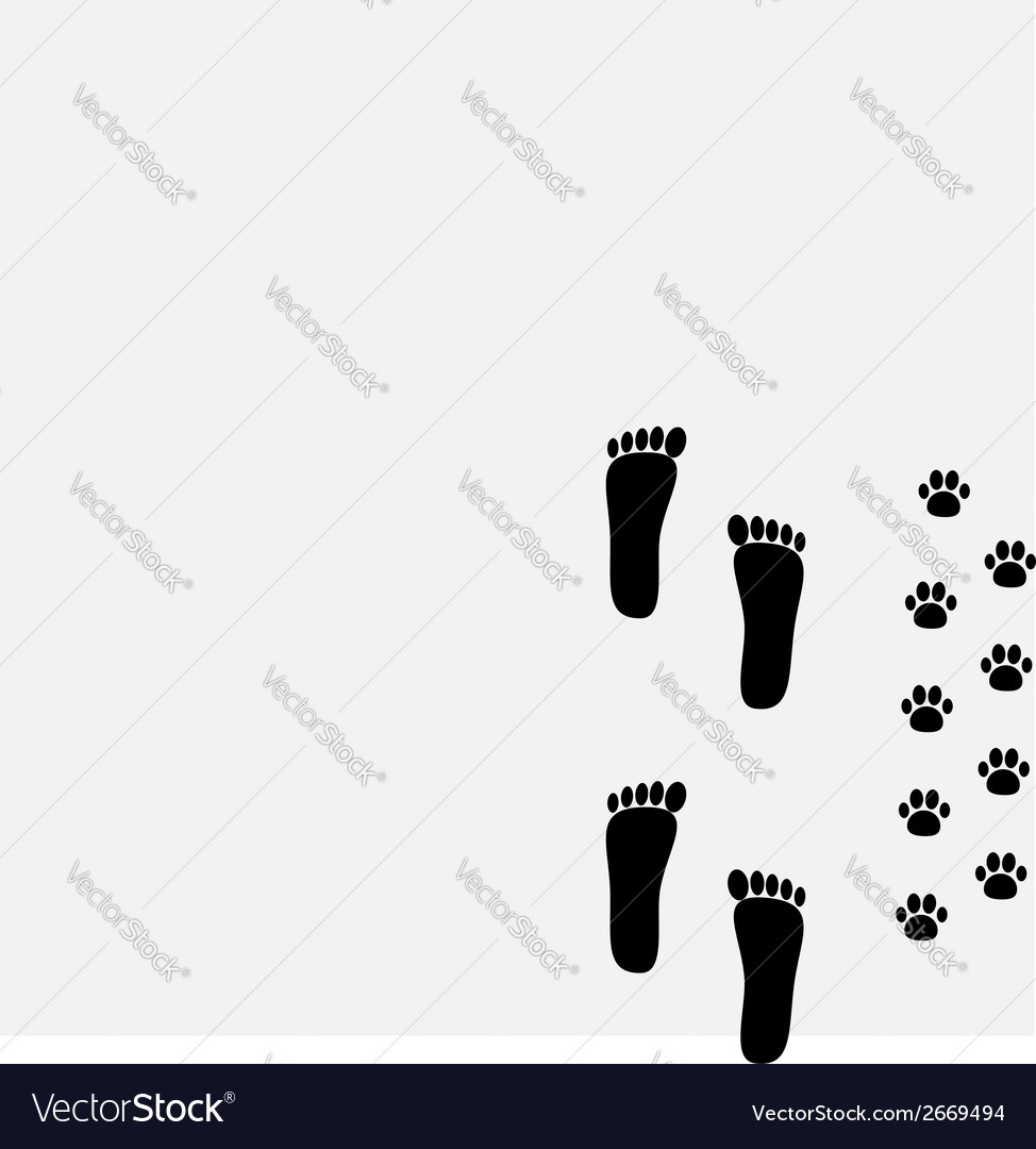 Bare foot print and paw print in the corner vector | Price: 1 Credit (USD $1)
