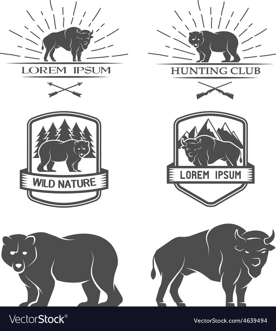 Bison and bear posters labels emblem vector | Price: 1 Credit (USD $1)