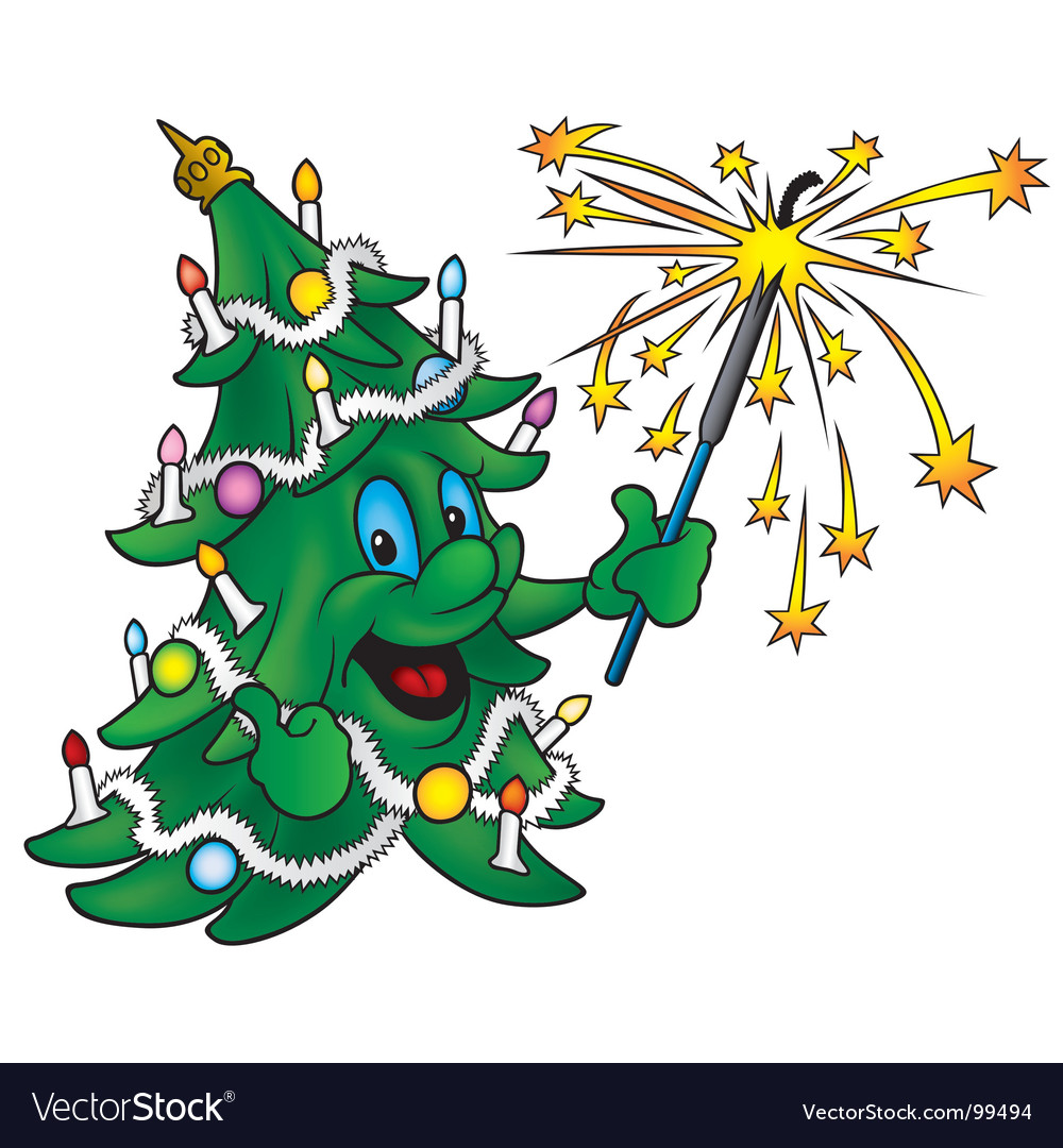 Christmas tree with sparkler vector | Price: 1 Credit (USD $1)