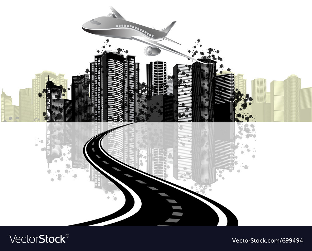 Cityscape and plane vector | Price: 3 Credit (USD $3)