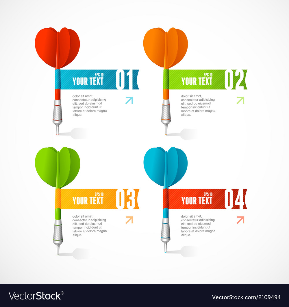 Colorful dart arrow like options banner vector | Price: 1 Credit (USD $1)