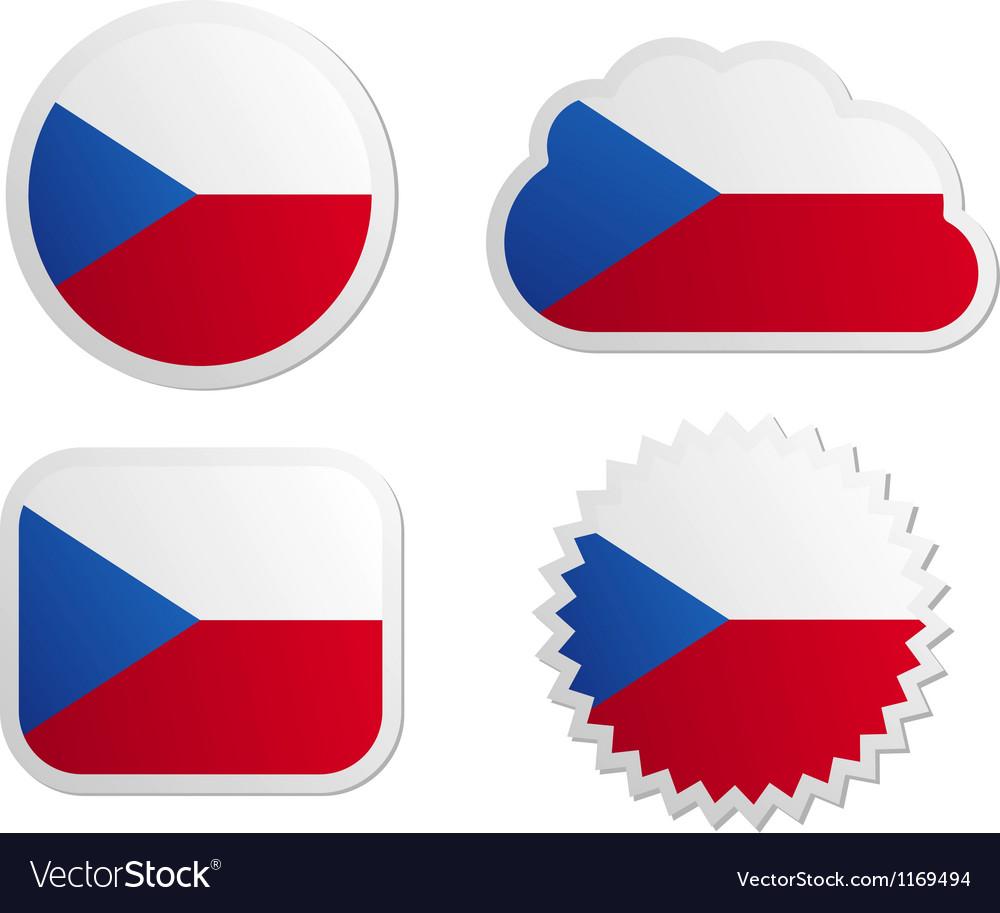 Czech republic flag labels vector   Price: 1 Credit (USD $1)