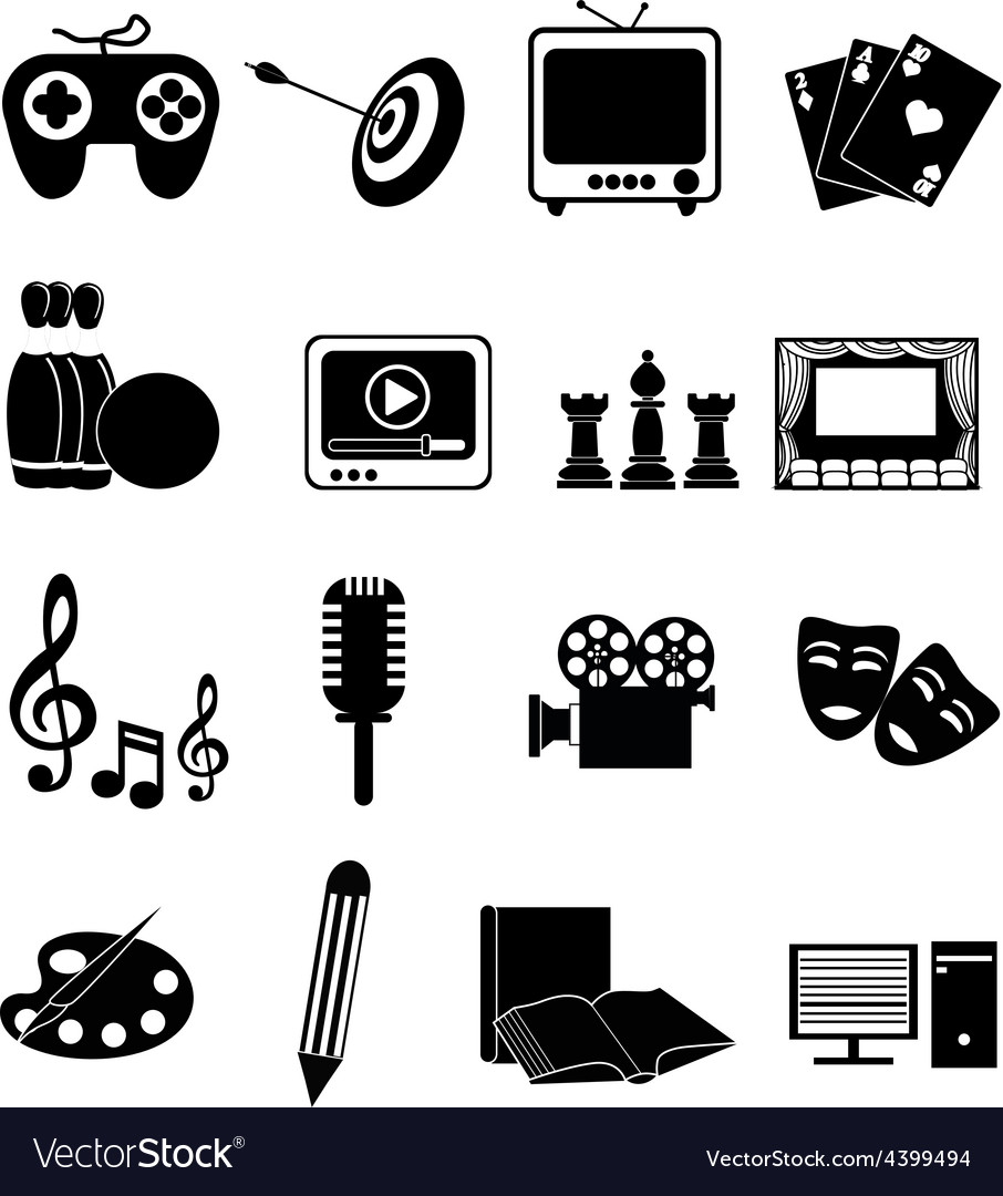Entertainment icons set vector | Price: 3 Credit (USD $3)